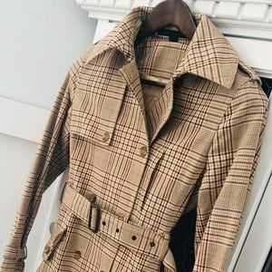 Satin lined plaid Express belted trench coat